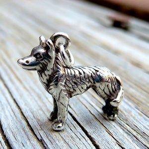 Vintage 925 Tiny German Shepherd Dog Charm Pendant